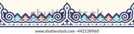 Traditional Ottoman Iznik Seamless Border. Islamic Floral Design. Red, Blue, Cyan on Beige. - stock vector