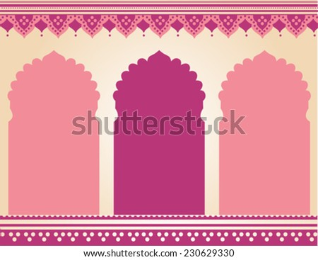 Traditional pink Indian temple background - stock vector