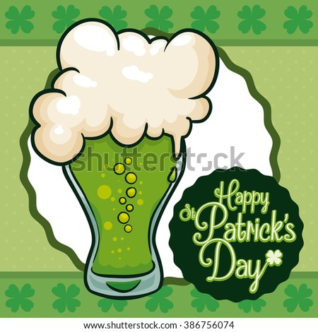 Traditional poster for St. Patrick's Day with a limited edition green beer. - stock vector
