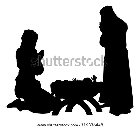 Traditional religious Christian Christmas Nativity Scene of baby Jesus in the manger with Mary and Joseph in silhouette - stock vector