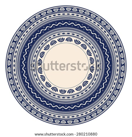 Traditional Romanian round decorative element, vector template  - stock vector