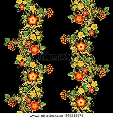 Traditional Russian vector seamless pattern in khokhloma style with flowers and berries - stock vector