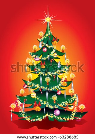 Traditional shiny,xmas tree  with candles ,bells,Christmas bauble and stars chain on warm ,red background. - stock vector