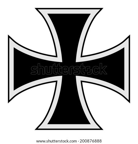 Traditional symbol of the Teutonic Order of the black cross. - stock vector