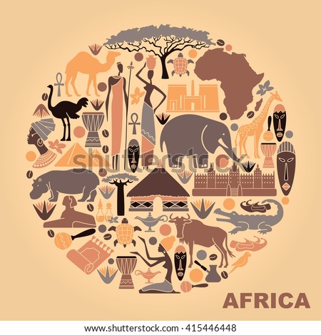 Traditional symbols of Africa in the form of a circle - stock vector