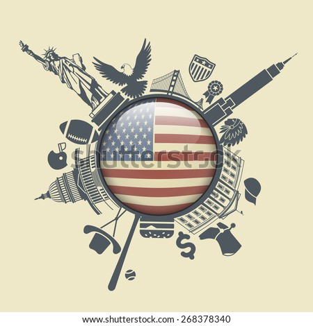 Traditional symbols of America in the form of a circle  - stock vector