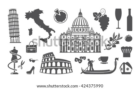 Traditional symbols of architecture and culture of Italy - stock vector