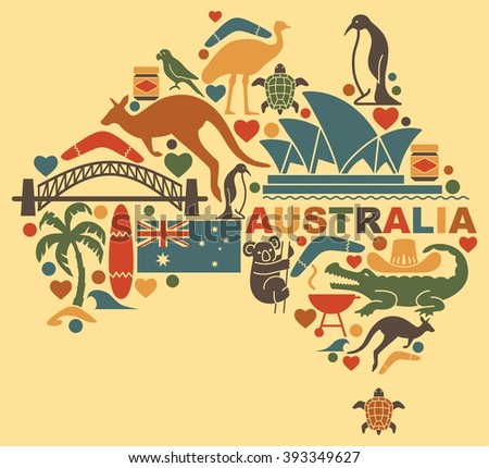 Traditional symbols of Australian culture and nature in the form of a map