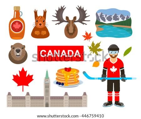 Traditional Symbols Canada Cartoon Style Attractions Stock Vector
