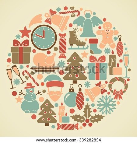 Traditional symbols of Christmas and new year - stock vector