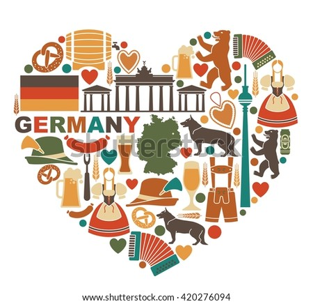 Traditional symbols of culture, architecture and cuisine of Germany in heart shape - stock vector