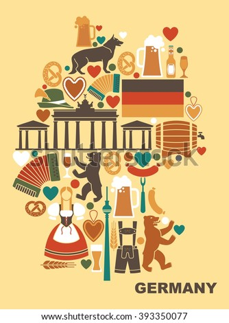 Traditional symbols of culture, architecture and cuisine of Germany in the form of a map.