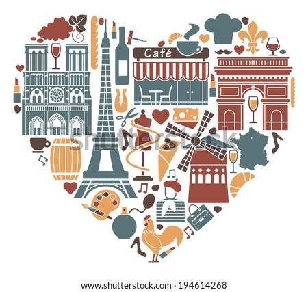 Traditional symbols of France in the form of heart - stock vector