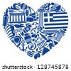 Traditional symbols of Greece in the form of heart - stock vector
