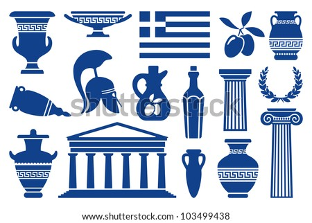 Traditional symbols of Greece. Monochrome icons - stock vector