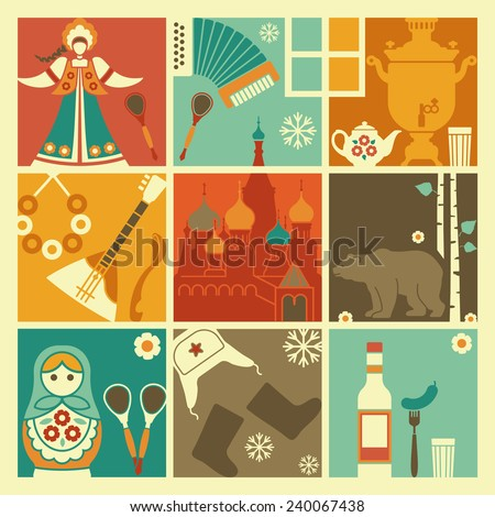 Traditional symbols of Russia - stock vector