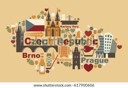 Traditional Symbols Czech Republic Form Map Stock Vector 617900606