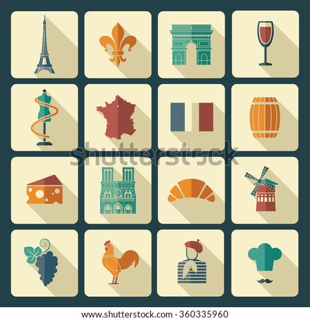 Traditional symbols of the French architecture, culture, kitchen - stock vector