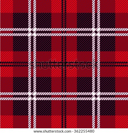 Traditional tartan. Seamless Scottish plaid checkered vector pattern. Retro textile collection. Red, black with black and white stripes. Backgrounds & textures shop. - stock vector