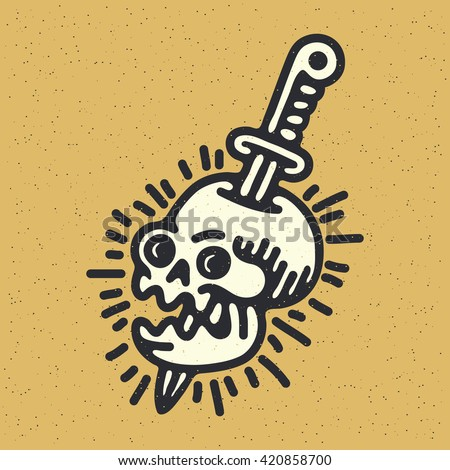 Traditional Tattoo Flash Skull With A Sword And Rays Vector Illustration On Grunge Texture Background