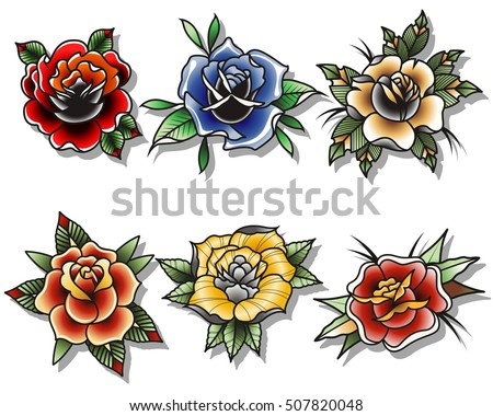 chrysanthemum flowers tattoo design set traditional stock vector 499130821 shutterstock. Black Bedroom Furniture Sets. Home Design Ideas