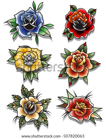 flower tattoo stock images royalty free images vectors shutterstock. Black Bedroom Furniture Sets. Home Design Ideas
