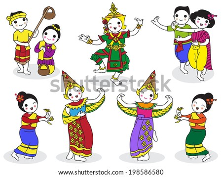Traditional Thai Dancers character illustration set