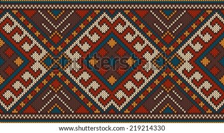 Traditional Tribal Aztec seamless pattern on the wool knitted texture.  - stock vector