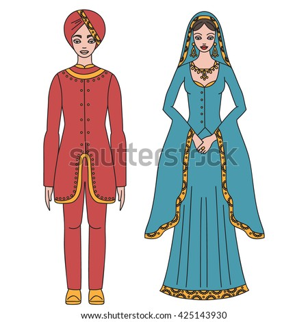 Traditional turkish clothing national middle east stock vector traditional turkish clothing national middle east cloth man and woman sultan costume isolated sciox Images