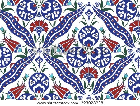 Traditional Turkish Ottoman Floral Pattern - stock vector