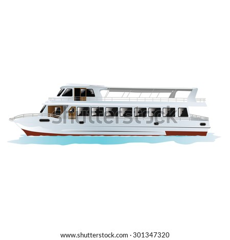 Traditional Turkish passenger boat in Istanbul, Turkey. Isolated on white. Vector, illustration.