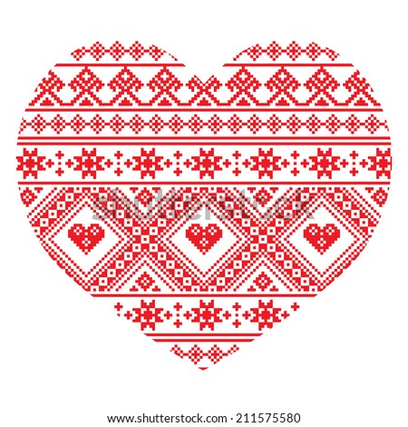 Traditional Ukrainian folk art heart knitted red embroidery pattern   - stock vector