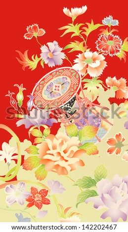 Traditional vintage kimono motifs showing flowers and an ornamental drum