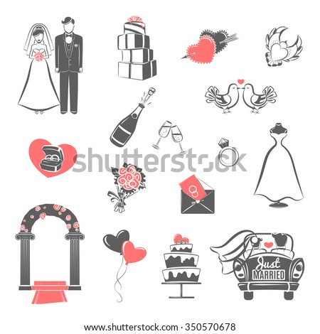 Traditional wedding two colors icons set with engaged couple and bridal party accessories abstract isolated vector illustration - stock vector