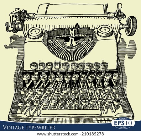 Traditional Western Style Inked Hand Drawing Sketch Style. Vintage typewriter front view drawing ink isolated on white background - stock vector