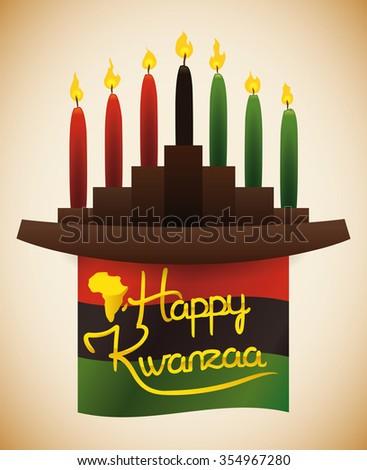 Traditional wooden kwanzaa kinara traditional candles stock vector traditional wooden kwanzaa kinara with traditional candles and greeting message m4hsunfo