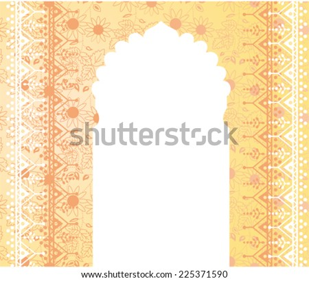 Traditional yellow Indian background with temple door and space for text - stock vector