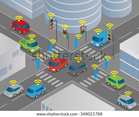 Traffic and wireless network, Intelligent Transport Systems, Internet of Things, vector illustration - stock vector
