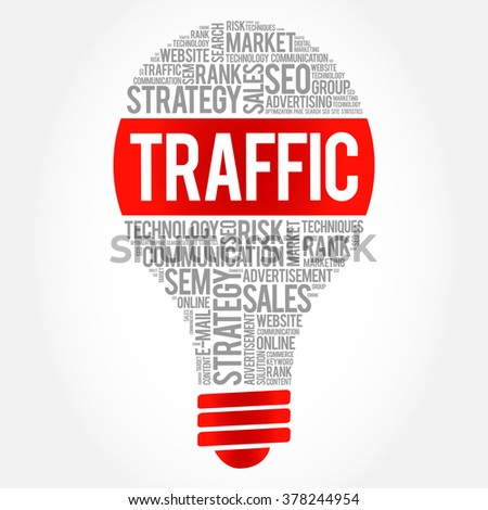 TRAFFIC bulb word cloud, business concept - stock vector