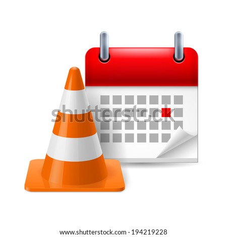 Traffic cone and calendar with marked day on white background - stock vector