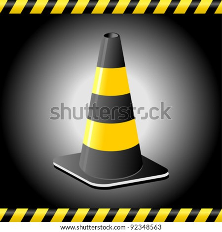 Traffic cone background with tape lines