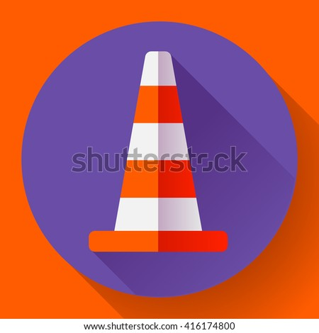 Traffic cone color icon. under construction symbol. Flat design style - stock vector