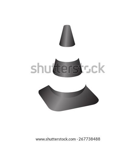 Traffic cone. Gray vector - stock vector