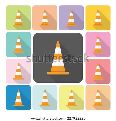 Traffic cone Icon color set vector illustration. - stock vector