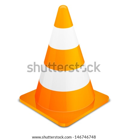 Traffic Cone isolated on white background. Vector illustration EPS 10. - stock vector