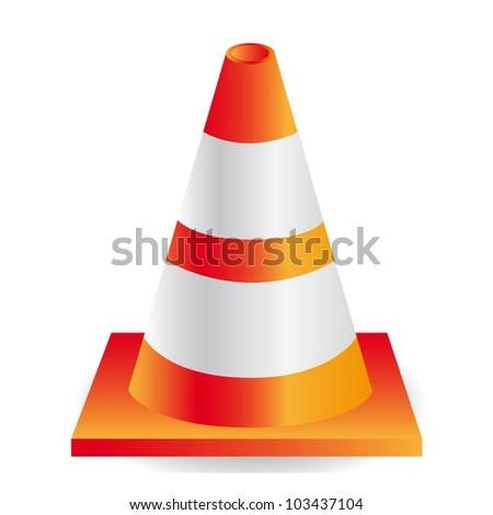 traffic cone orange with white stripes, vector illustration - stock vector