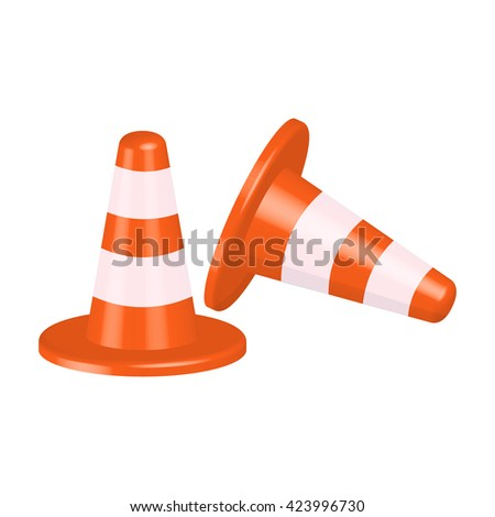 traffic cone vector illustration isolated on a white background - stock vector