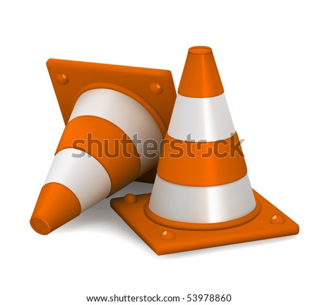 Traffic cones - stock vector