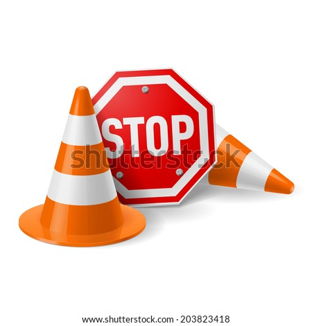 Traffic cones and red stop sign. Road safety and prevention of accidents  during road construction - stock vector