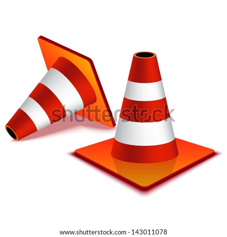 Traffic Cones isolated on white - stock vector